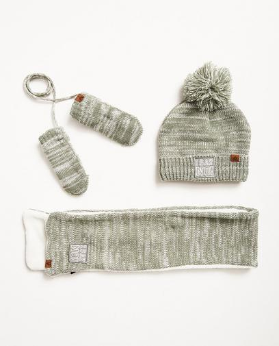 Écharpe, bonnet, moufles